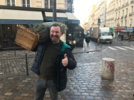 Getting used to life in Paris with some festive shopping including a tree from Rue St Denis - here's my cheerful chap bringing it home. #NewBeginnings #Paris #Eurostar Day 351 of #365TravelPics